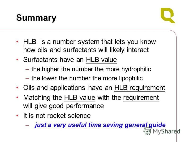 Summary HLB is a number system that lets you know how oils and surfactants will likely interact Surfactants have an HLB value –the higher the number the more hydrophilic –the lower the number the more lipophilic Oils and applications have an HLB requ