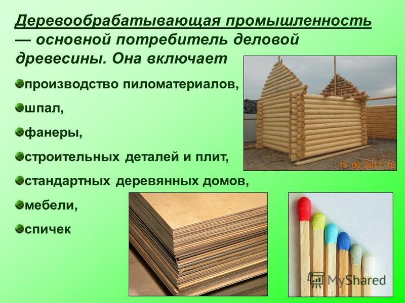 Деревообрабатывающая промышленность основной потребитель деловой древесины. Она включает производство пиломатериалов, шпал, фанеры, строительных деталей и плит, стандартных деревянных домов, мебели, спичек
