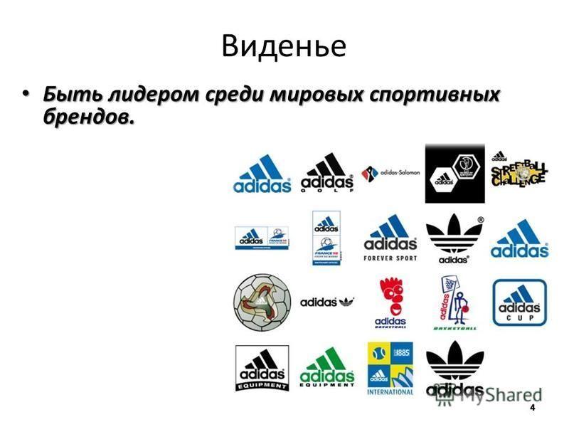 Виденье Быть лидером среди мировых спортивных брендов. Быть лидером среди мировых спортивных брендов.