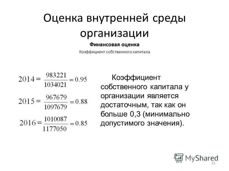 Оценка внутренней среды организации Финансовая оценка Коэффициент собственного капитала Коэффициент собственного капитала у организации является достаточным, так как он больше 0,3 (минимально допустимого значения). 55