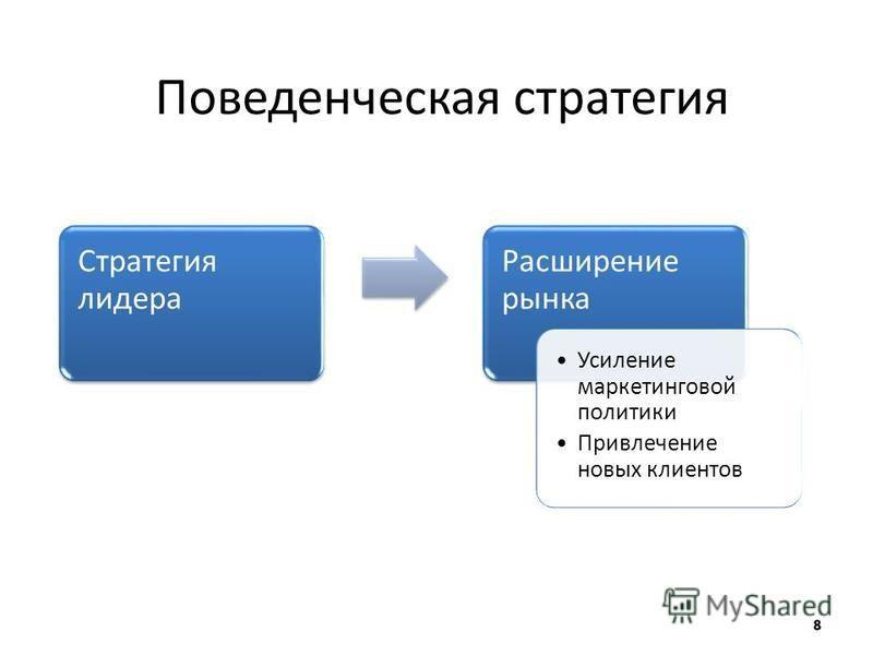 Поведенческая стратегия Стратегия лидера Расширение рынка Усиление маркетинговой политики Привлечение новых клиентов Усиление маркетинговой политики Привлечение новых клиентов
