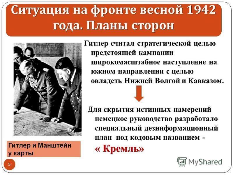Гитлер считал стратегической целью предстоящей кампании широкомасштабное наступление на южном направлении с целью овладеть Нижней Волгой и Кавказом. 5 Гитлер и Манштейн у карты Ситуация на фронте весной 1942 года. Планы сторон « Кремль» Для скрытия и