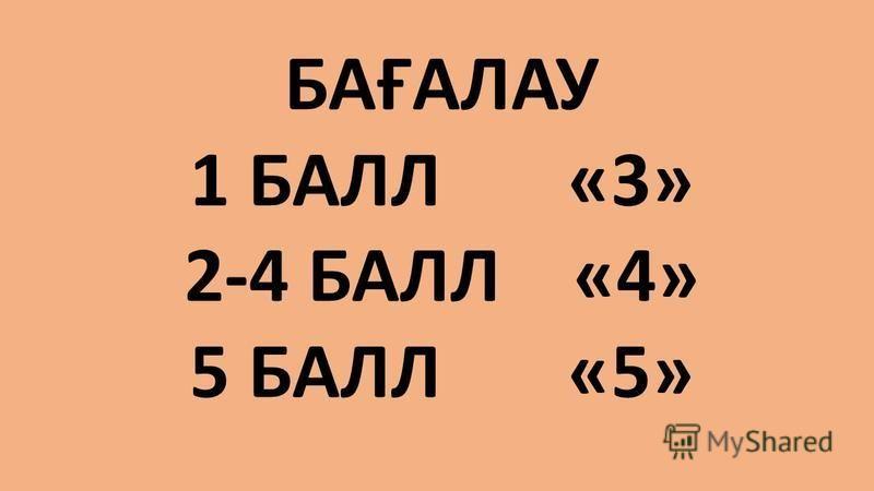 БАҒАЛАУ 1 БАЛЛ «3» 2-4 БАЛЛ «4» 5 БАЛЛ «5»