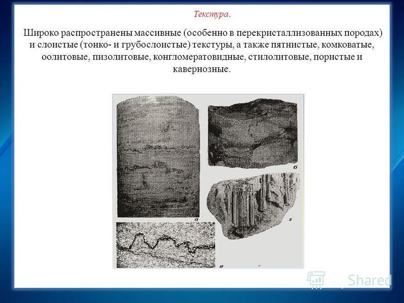 Химический состав карбонатных пород, мае. % Текстура. Широко распространены массивные (особенно в перекристаллизованных породах) и слоистые (тонко- и грубо слоистые) текстуры, а также пятнистые, комковатые, оолитовые, пизолитовые, конгломератовидные
