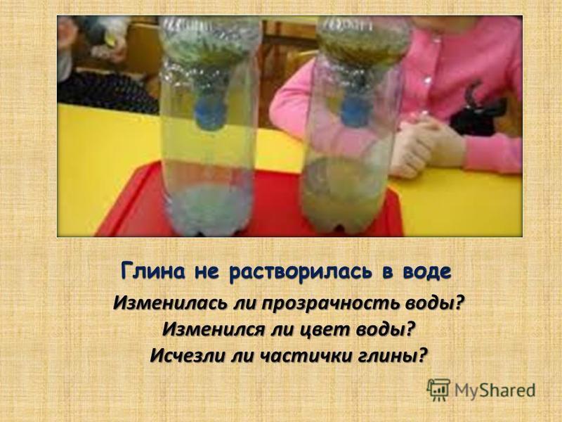 Изменилась ли прозрачность воды? Изменился ли цвет воды? Исчезли ли частички глины?