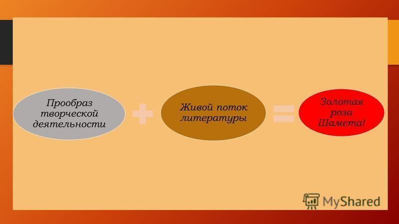 Прообраз творческой деятельности Живой поток литературы Золотая роза Шамета!