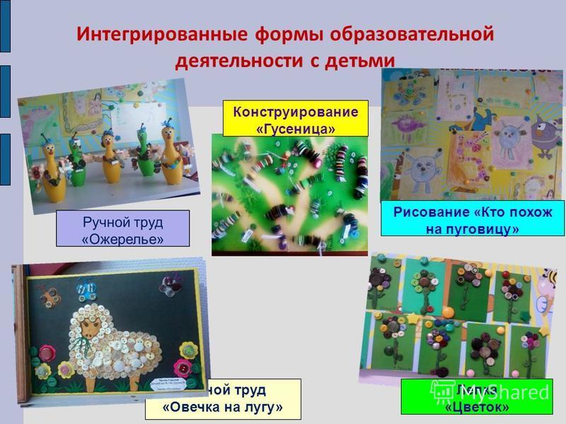 Интегрированные формы образовательной деятельности с детьми Конструирование «Гусеница» Рисование «Кто похож на пуговицу» Лепка «Цветок» Ручной труд «Овечка на лугу»