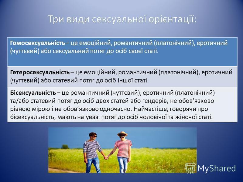 Гомосексуальність – це емоційний, романтичний (платонічний), еротичний (чуттєвий) або сексуальний потяг до осіб своєї статі. Гетеросексуальність – це емоційний, романтичний (платонічний), еротичний (чуттєвий) або статевий потяг до осіб іншої статі. Б