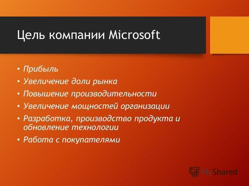 Цель компании Microsoft Прибыль Увеличение доли рынка Повышение производительности Увеличение мощностей организации Разработка, производство продукта и обновление технологии Работа с покупателями
