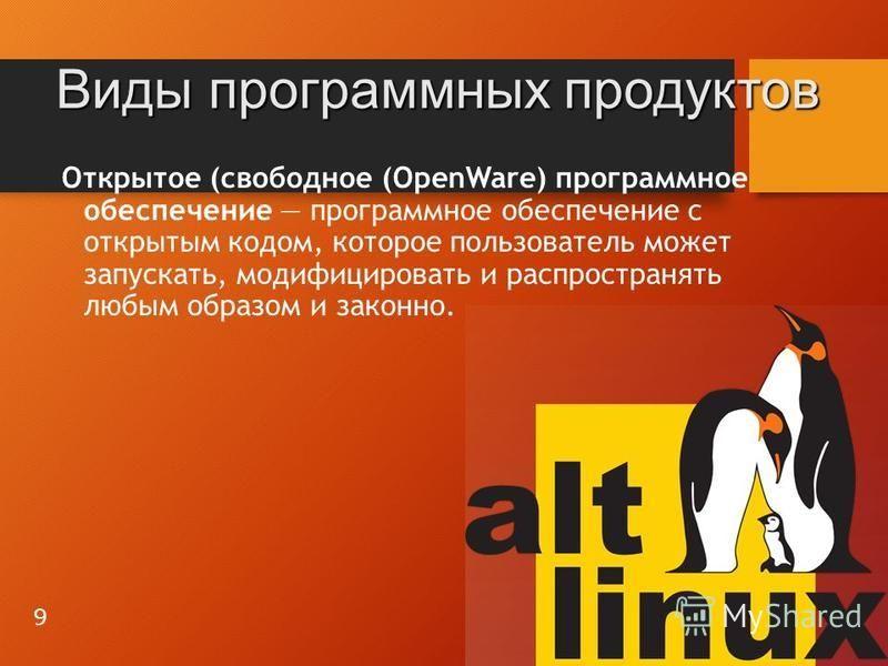 Открытое (свободное (OpenWare) программное обеспечение программное обеспечение с открытым кодом, которое пользователь может запускать, модифицировать и распространять любым образом и законно. Виды программных продуктов 9