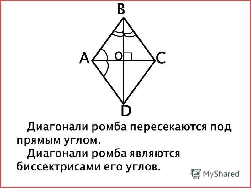 Диагонали ромба пересекаются под прямым углом. Диагонали ромба являются биссектрисами его углов. АС В D О