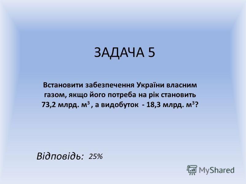 ЗАДАЧА 5 Встановити забезпечення України власним газом, якщо його потреба на рік становить 73,2 млрд. м 3, а видобуток - 18,3 млрд. м 3 ? Відповідь: 25%