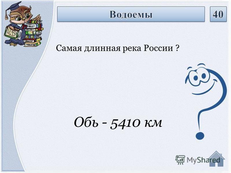 Обь - 5410 км Самая длинная река России ?