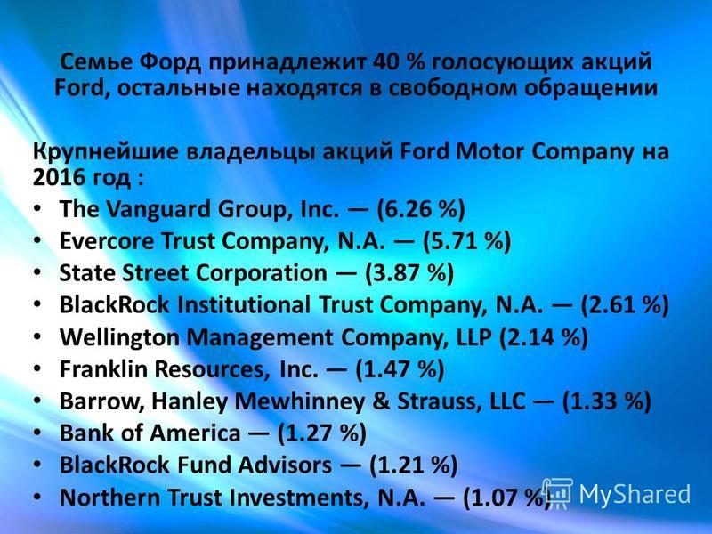 Семье Форд принадлежит 40 % голосующих акций Ford, остальные находятся в свободном обращении Крупнейшие владельцы акций Ford Motor Company на 2016 год : The Vanguard Group, Inc. (6.26 %) Evercore Trust Company, N.A. (5.71 %) State Street Corporation