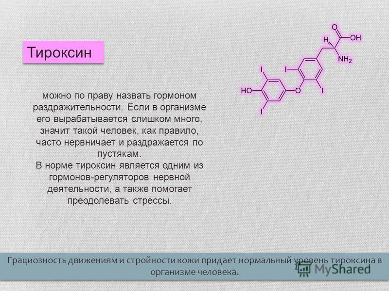Тироксин можно по праву назвать гормоном раздражительности. Если в организме его вырабатывается слишком много, значит такой человек, как правило, часто нервничает и раздражается по пустякам. В норме тироксин является одним из гормонов-регуляторов нер