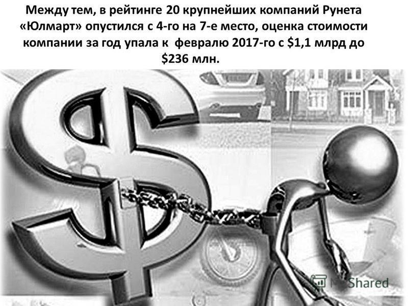Между тем, в рейтинге 20 крупнейших компаний Рунета «Юлмарт» опустился с 4-го на 7-е место, оценка стоимости компании за год упала к февралю 2017-го с $1,1 млрд до $236 млн.