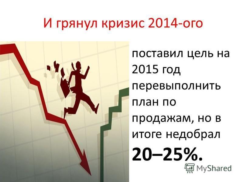 И грянул кризис 2014-ого поставил цель на 2015 год перевыполнить план по продажам, но в итоге недобрал 20–25%.