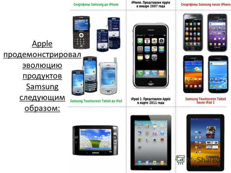 Apple продемонстрировал эволюцию продуктов Samsung следующим образом: