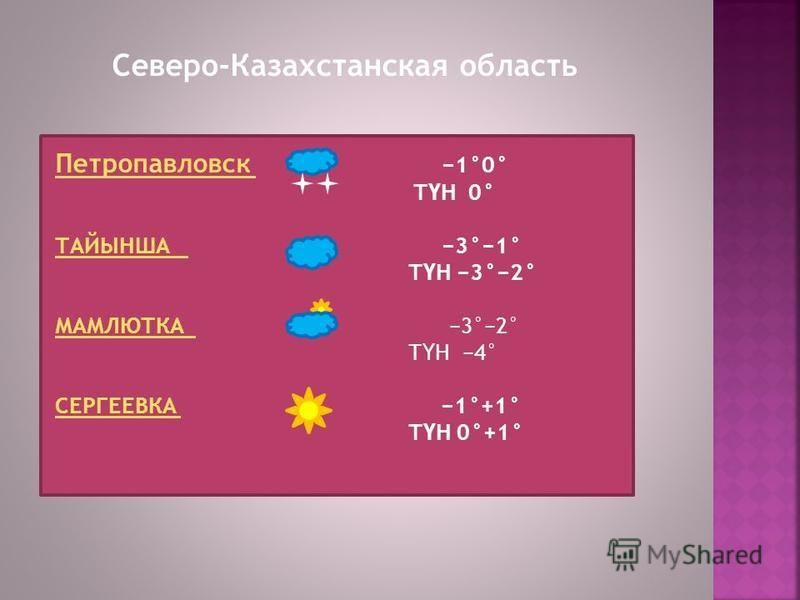 Северо-Казахстанская область Петропавловск Петропавловск 1°0° Т Ү Н 0° ТАЙЫНША ТАЙЫНША 3°1° Т Ү Н 3°2° МАМЛЮТКА МАМЛЮТКА 3°2° Т Ү Н 4° СЕРГЕЕВКА СЕРГЕЕВКА 1°+1° Т Ү Н 0°+1°