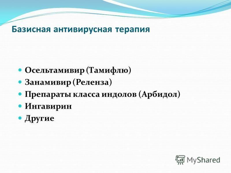 Базисная антивирусная терапия Осельтамивир (Тамифлю) Занамивир (Реленза) Препараты класса индолов (Арбидол) Ингавирин Другие