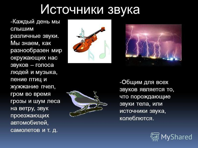 Источники звука -Каждый день мы слышим различные звуки. Мы знаем, как разнообразен мир окружающих нас звуков – голоса людей и музыка, пение птиц и жужжание пчел, гром во время грозы и шум леса на ветру, звук проезжающих автомобилей, самолетов и т. д.