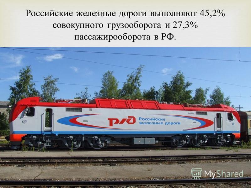 Российские железные дороги выполняют 45,2% совокупного грузооборота и 27,3% пассажирооборота в РФ.