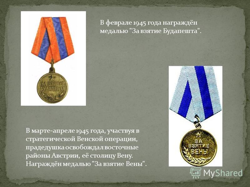 В феврале 1945 года награждён медалью За взятие Будапешта. В марте-апреле 1945 года, участвуя в стратегической Венской операции, прадедушка освобождал восточные районы Австрии, её столицу Вену. Награждён медалью За взятие Вены.