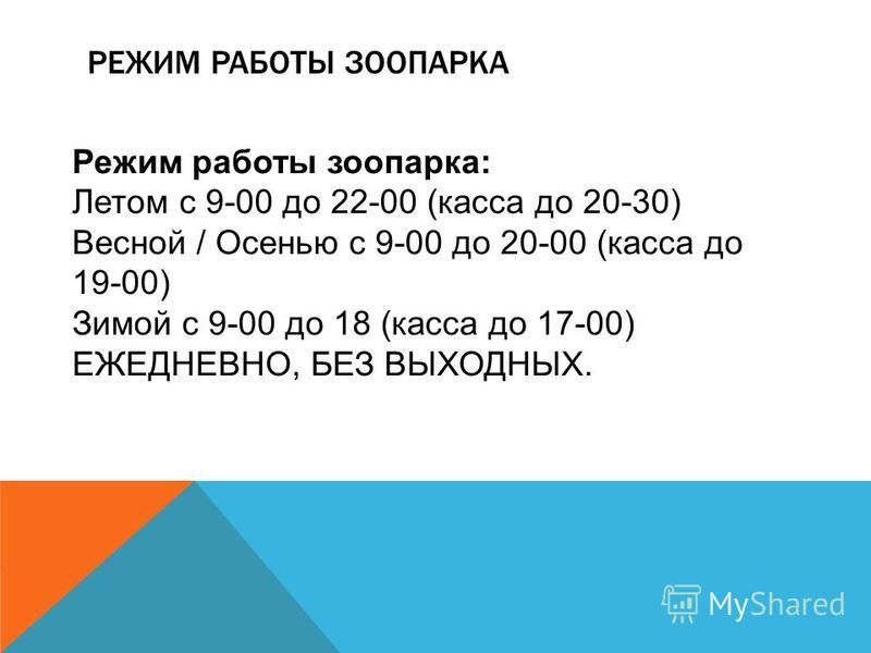 РЕЖИМ РАБОТЫ ЗООПАРКА Режим работы зоопарка: Летом с 9-00 до 22-00 (касса до 20-30) Весной / Осенью с 9-00 до 20-00 (касса до 19-00) Зимой с 9-00 до 18 (касса до 17-00) ЕЖЕДНЕВНО, БЕЗ ВЫХОДНЫХ.
