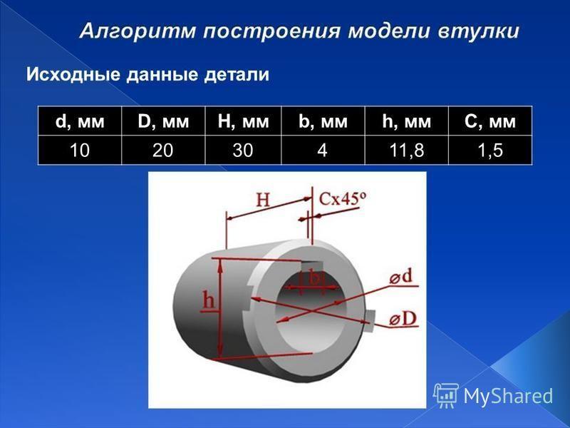 Исходные данные детали d, ммD, ммH, ммb, ммh, ммС, мм 102030411,81,5