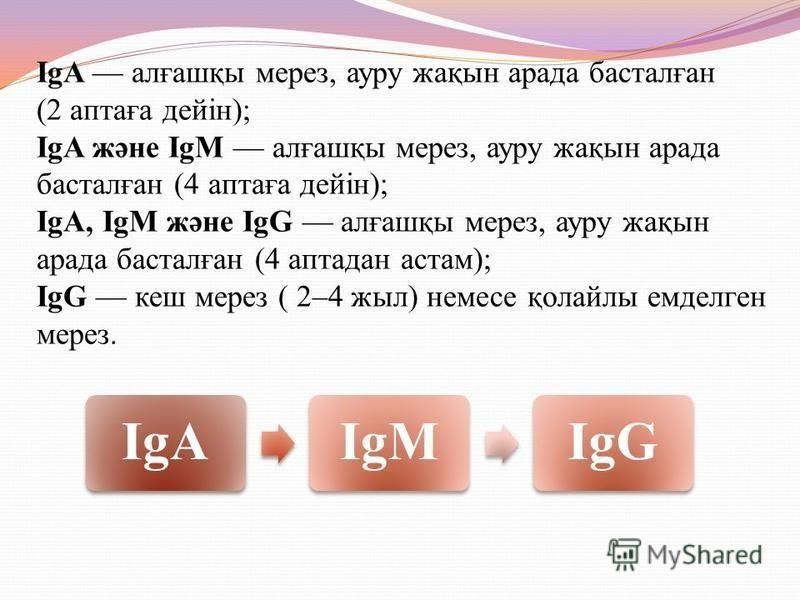 IgA алғашқы через, ауру жақын арада басталған (2 аптаға дейін); IgA және IgM алғашқы через, ауру жақын арада басталған (4 аптаға дейін); IgA, IgМ және IgG алғашқы через, ауру жақын арада басталған (4 аптадан астам); IgG кеш через ( 2–4 жил) немсе қол