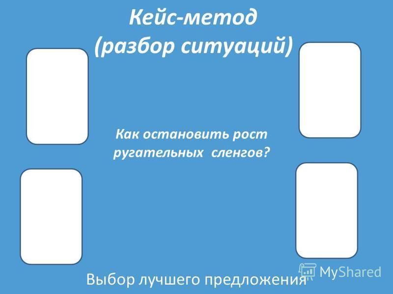 Выбор лучшего предложения Кейс-метод (разбор ситуаций) Как остановить рост ругательных сленгов?