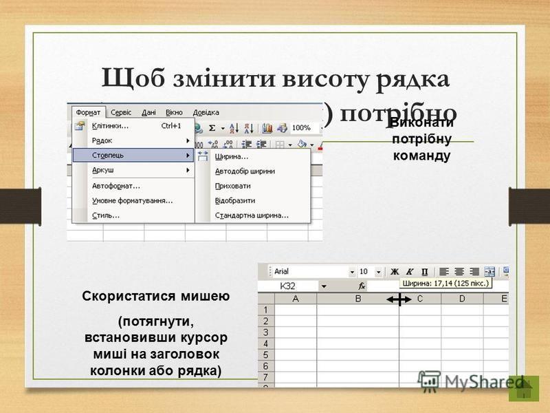 Щоб змінити висоту рядка (ширину колонки) потрібно Виконати потрібну команду Скористатися мишею (потягнути, встановивши курсор миші на заголовок колонки або рядка)