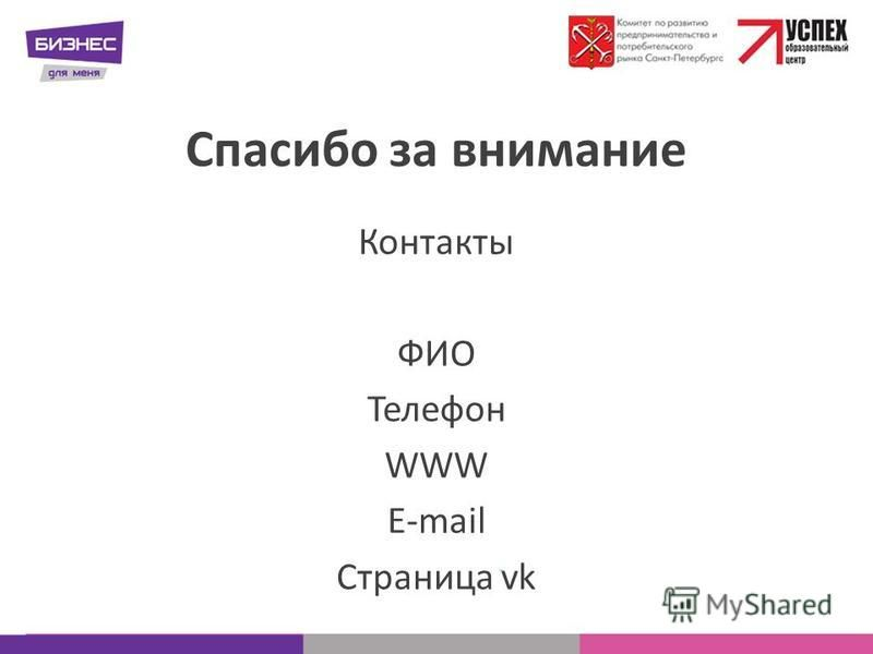 Спасибо за внимание Контакты ФИО Телефон WWW E-mail Страница vk