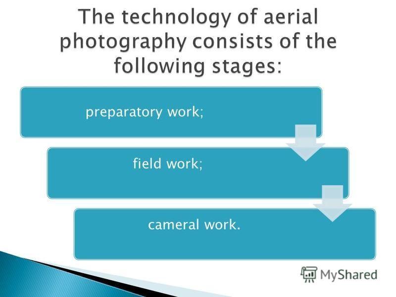 preparatory work; field work;cameral work.