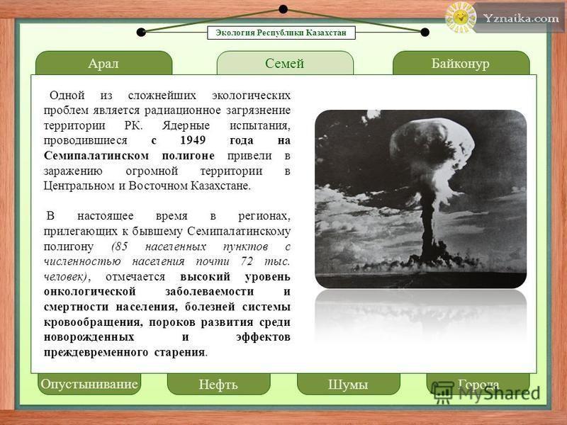 Арал LOREM IPSUM Семей Байконур Одной из сложнейших экологических проблем является радиационное загрязнение территории РК. Ядерные испытания, проводившиеся с 1949 года на Семипалатинском полигоне привели в заражению огромной территории в Центральном
