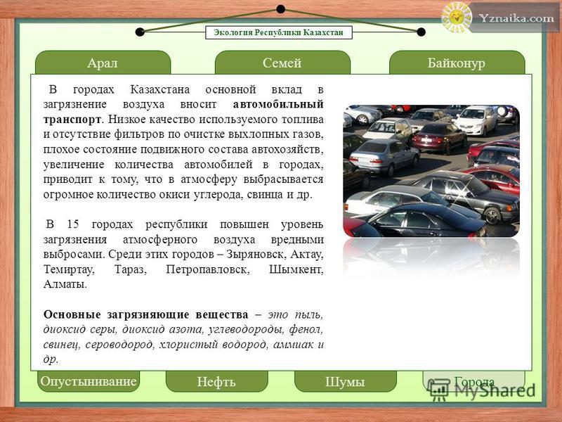Арал LOREM IPSUM Семей Байконур В городах Казахстана основной вклад в загрязнение воздуха вносит автомобильный транспорт. Низкое качество используемого топлива и отсутствие фильтров по очистке выхлопных газов, плохое состояние подвижного состава авто