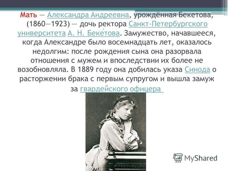 Мать Александра Андреевна, урождённая Бекетова, (18601923) дочь ректора Санкт-Петербургского университета А. Н. Бекетова. Замужество, начавшееся, когда Александре было восемнадцать лет, оказалось недолгим: после рождения сына она разорвала отношения