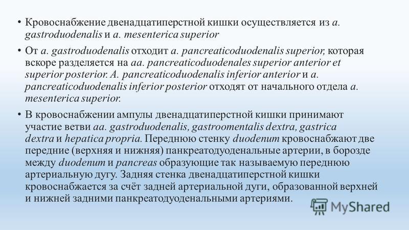 Кровоснабжение двенадцатиперстной кишки осуществляется из а. gastroduodenalis и a. mesenterica superior От a. gastroduodenalis отходит a. pancreaticoduodenalis superior, которая вскоре разделяется на аа. pancreaticoduodenales superior anterior et sup