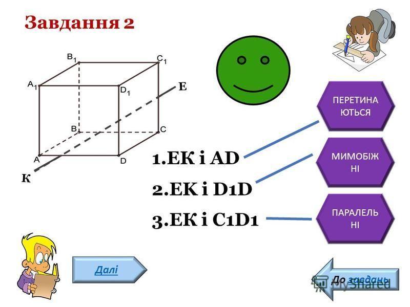 К Е Завдання 2 Далі До завдань 1.ЕК і AD 2.EK і D1D 3.ЕК і С1D1 ПЕРЕТИНА ЮТЬСЯ МИМОБІЖ НІ ПАРАЛЕЛЬ НІ