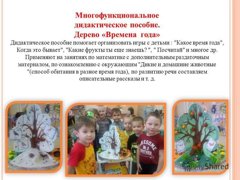 Многофункциональное дидактическое пособие. Дерево «Времена года» Дидактическое пособие помогает организовать игры с детьми :