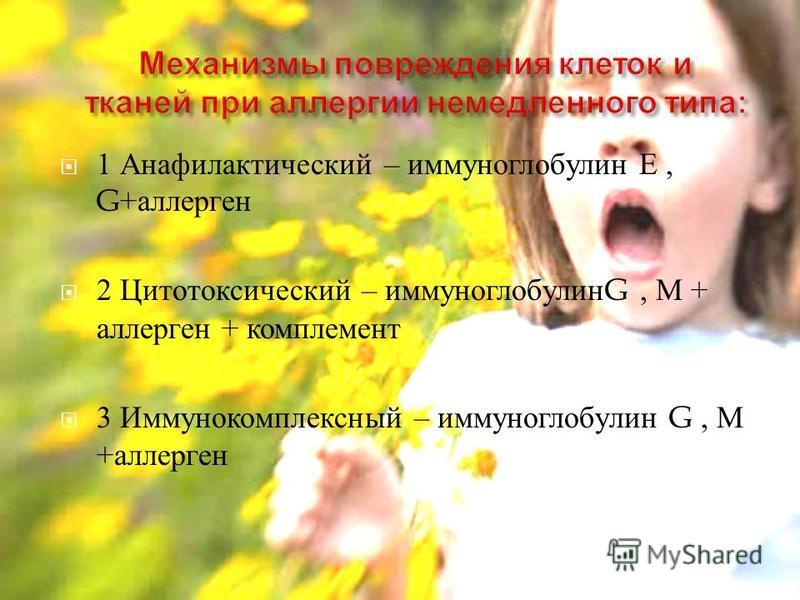 1 Анафилактический – иммуноглобулин Е, G+ аллерген 2 Цитотоксический – иммуноглобулин G, М + аллерген + комплемент 3 Иммунокомплексный – иммуноглобулин G, М + аллерген