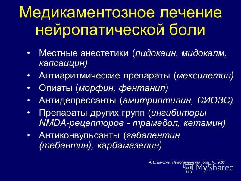 Медикаментозное лечение нейропатической боли Местные анестетики (лидокаин, мидокалм, капсаицин) Антиаритмические препараты (мексилетин) Опиаты (морфин, фентанил) Антидепрессанты (амитриптилин, СИОЗС) Препараты других групп (ингибиторы NMDA-рецепторов
