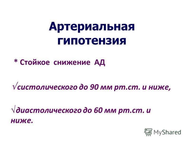Артериальная гипотензия * Стойкое снижение АД систолического до 90 мм рт.ст. и ниже, диастолического до 60 мм рт.ст. и ниже.