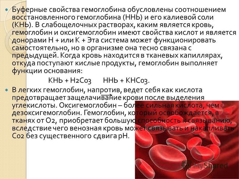 Буферные свойства гемоглобина обусловлены соотношением восстановленного гемоглобина ( ННЬ ) и его калиевой соли ( КНЬ ). В слабощелочных растворах, каким является кровь, гемоглобин и оксигемоглобин имеют свойства кислот и является донорами Н + или К