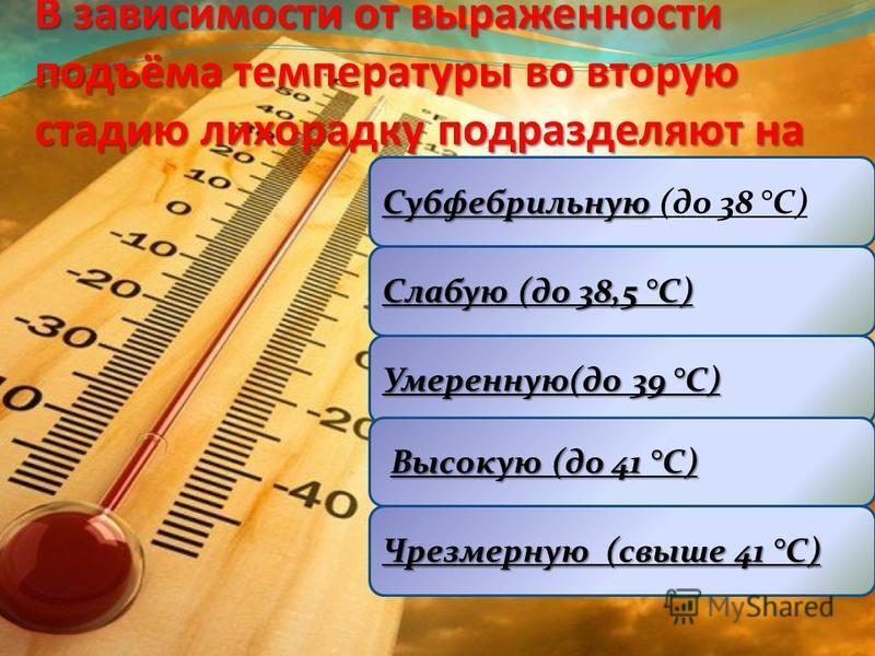 В зависимости от выраженности подъёма температуры во вторую стадию лихорадку подразделяют на Субфебрильную Субфебрильную (до 38 °C) Умеренную(до 39 °C) Слабую (до 38,5 °C) Высокую (до 41 °C) Чрезмерную (свыше 41 °C)