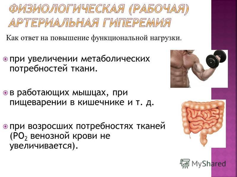 при увеличении метаболических потребностей ткани. в работающих мышцах, при пищеварении в кишечнике и т. д. при возросших потребностях тканей (PO 2 венозной крови не увеличивается). Как ответ на повышение функциональной нагрузки.
