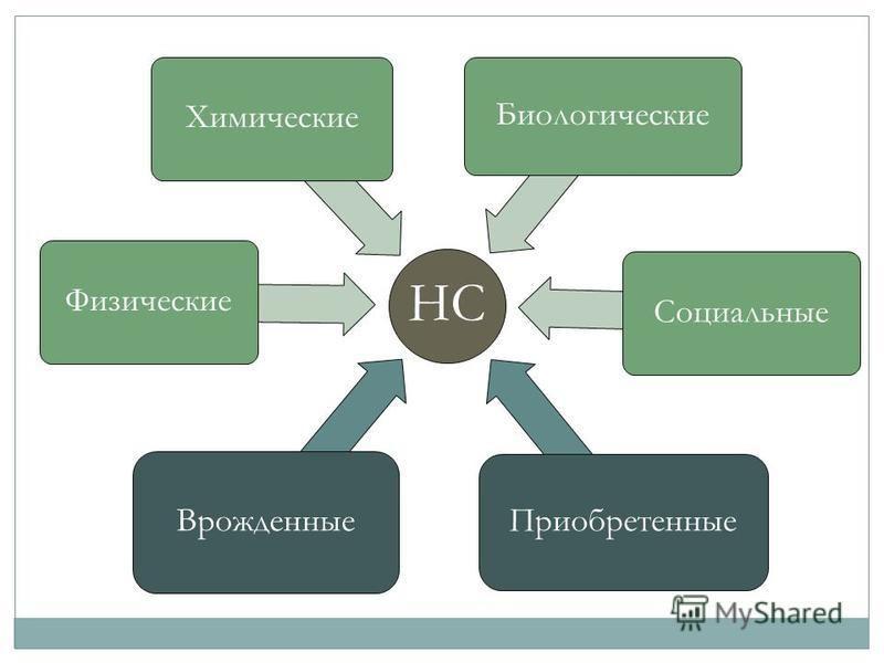 НС Физические Химические Биологические Социальные Врожденные Приобретенные