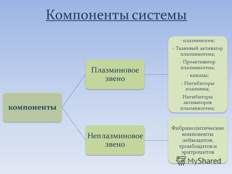 Компоненты системы компоненты Плазминовое звено - плазминоген; - Тканевый активатор плазминогена; - Проактиватор плазминогена; - киназы; - Ингибиторы плазмина; Ингибиторы активаторов плазминогена; Неплазминовое звено Фибринолитические компоненты лейк