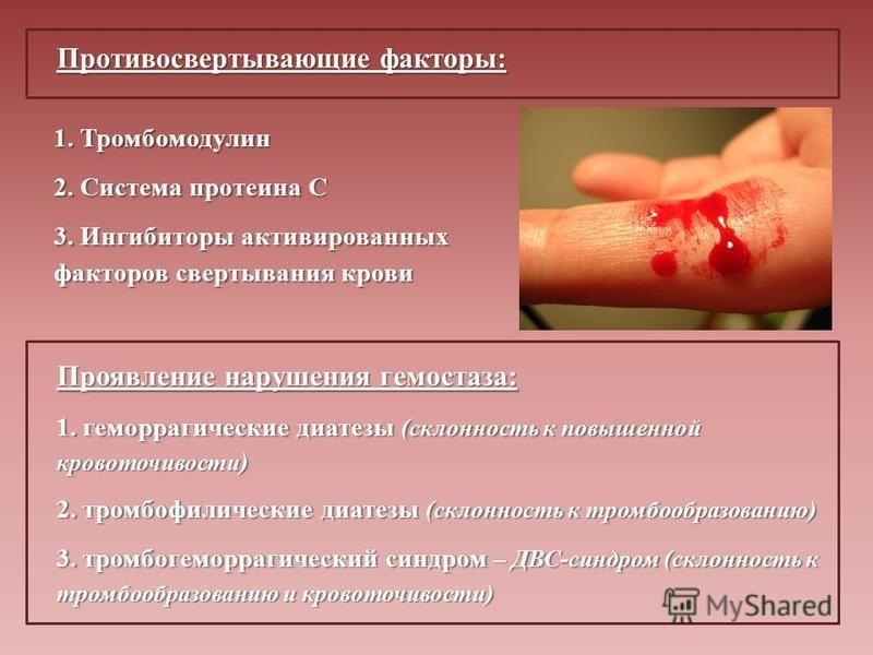 Противосвертывающие факторы: 1. Тромбомодулин 2. Система протеина С 3. Ингибиторы активированных факторов свертывания крови Проявление нарушения гемостаза: 1. геморрагические диатезы (склонность к повышенной кровоточивости) 2. тромбофилические диатез
