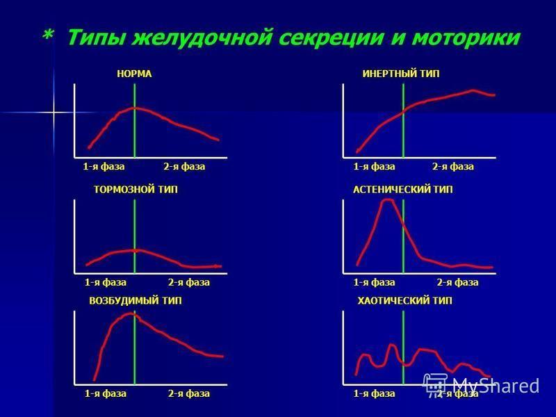 * Типы желудочной секреции и моторики 1-я фаза 1-я фаза 1-я фаза 1-я фаза 1-я фаза 1-я фаза 2-я фаза 2-я фаза 2-я фаза 2-я фаза 2-я фаза 2-я фаза НОРМА ТОРМОЗНОЙ ТИП ВОЗБУДИМЫЙ ТИП ИНЕРТНЫЙ ТИП АСТЕНИЧЕСКИЙ ТИП ХАОТИЧЕСКИЙ ТИП